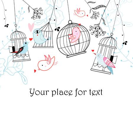 ozdobně: Grafické ptáky a klece na bílém pozadí s rostlinami Ilustrace