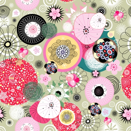 Seamless vivid abstract pattern with different floral and round elements