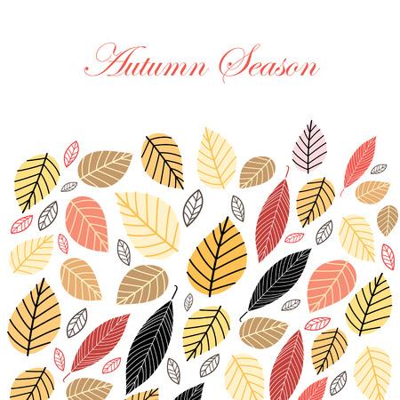 밝은 색상의 가을 흰색 배경에 나뭇잎 일러스트