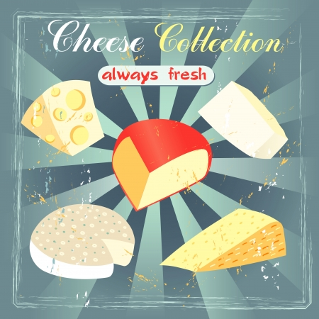 Vintage set of cheeses. Various types of cheese on a retro background Vector