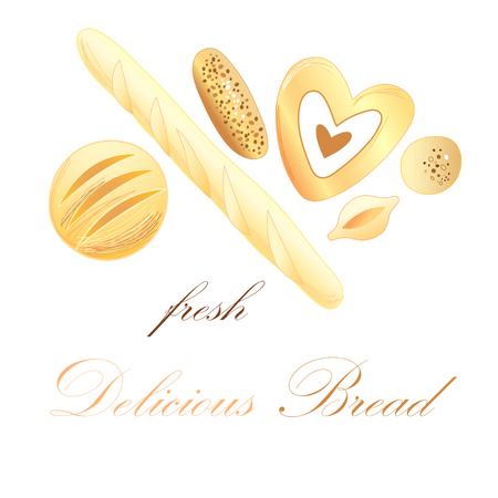 Illustration with different bread on a white background  Vector