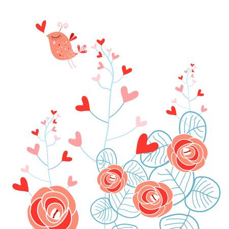 Mooie plant met harten en liefde vogel op een witte achtergrond Stock Illustratie