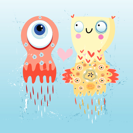 fun loving monsters flying on a blue background Vector