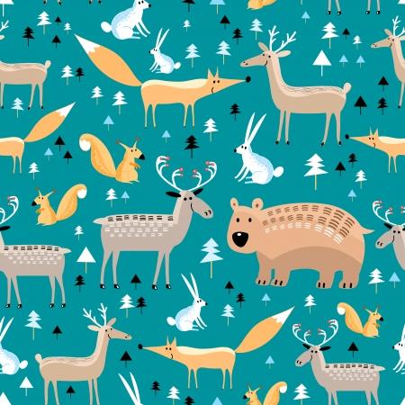 緑の背景で野生動物と明るいのシームレスなパターン  イラスト・ベクター素材