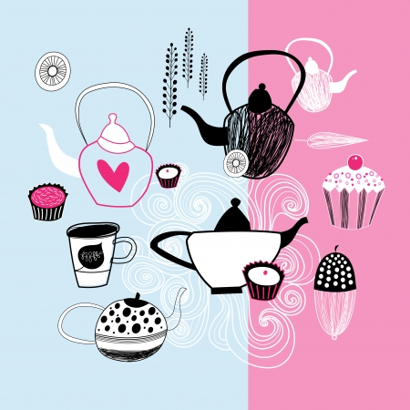 beautiful graphic images teapots and cakes Vector