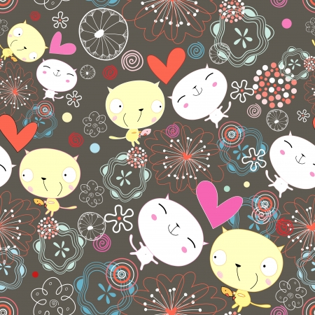 Seamless bright pattern of the fun loving kitten on a dark floral background Vector