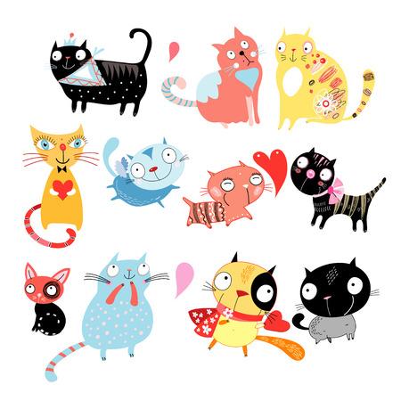 Différents chats drôles de couleur sur un fond blanc Banque d'images - 24182105