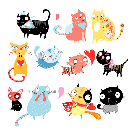 Different colored funny cats on a white background Ilustração
