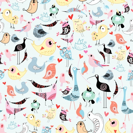 bright cheerful seamless pattern of funny birds on a blue background