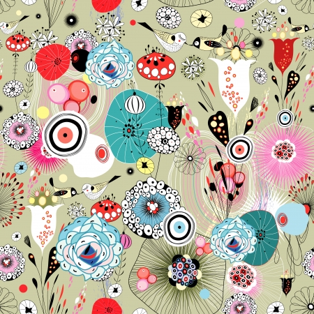 녹색 배경에 사랑에 조류와 다채로운 밝은 그래픽 꽃 패턴