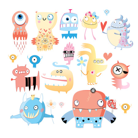 background with a set of amusing multi-colored monsters on white Stock Vector - 24182134