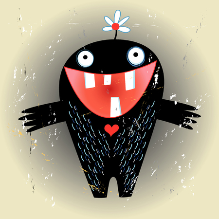 funny love monster on a brown textural background