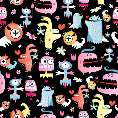 Bright seamless pattern of funny monsters on a black background