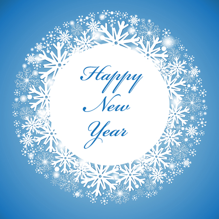 Greeting new year greeting card with a white circle and snowflakes on a blue background  Vector