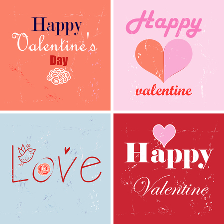 Style Valentines Day cards - Set of calligraphic and typographic elements, vintage label Illustration