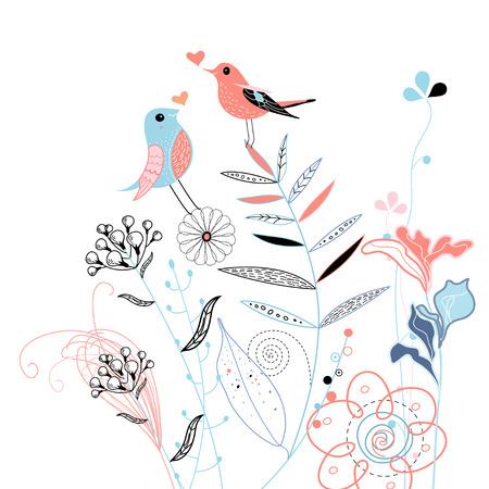 mooi grafisch planten en vogels in liefde op een witte achtergrond