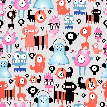 naadloze patroon van grappige kleine monsters op een grijze achtergrond