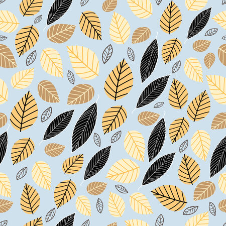 Seamless pattern of autumn leaves on a blue background Vector