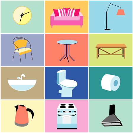 toilet paper art: set of objects and furniture for the house on colored backgrounds