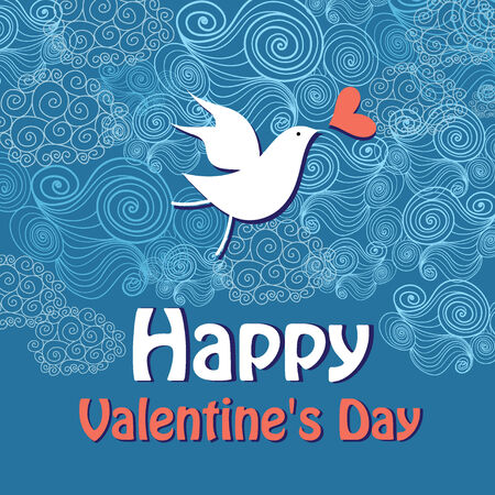 bright graphics card for Valentines day with a birdie on a blue background ornamental Vector