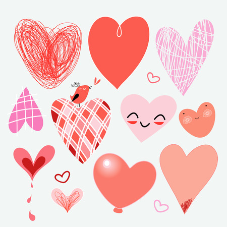 Lovely set of different hearts for the holiday