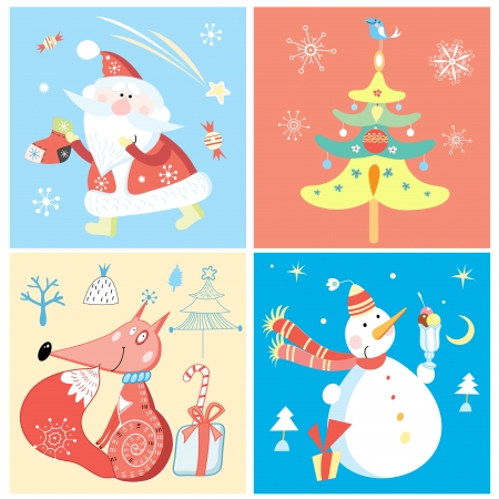 Set of different colored cheerful greeting for the new year Vector