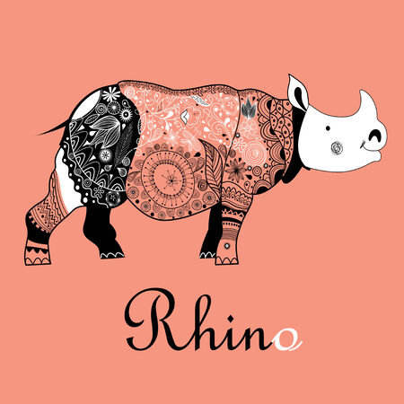 horny: beautiful patterned rhinoceros on a red background Illustration