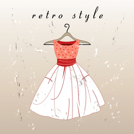 beautiful retro dress on a hanger on the textural background Vector