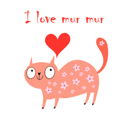 compliments: funny red cat in love on a white background