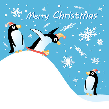 Bright fun christmas card with penguins and snowflakes   Vector