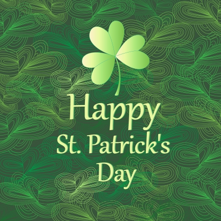 Bright ornamental  card with leaf for St. Patricks Day Vector