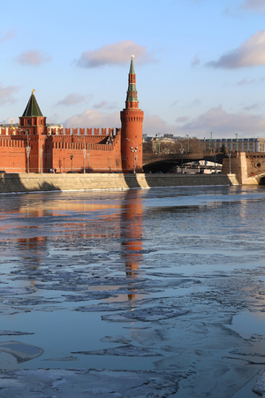 beautiful winter river landscape with Moscow Kremlin towers   photo