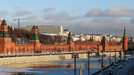 Beautiful  river winter landscape with Moscow Kremlin towers   photo