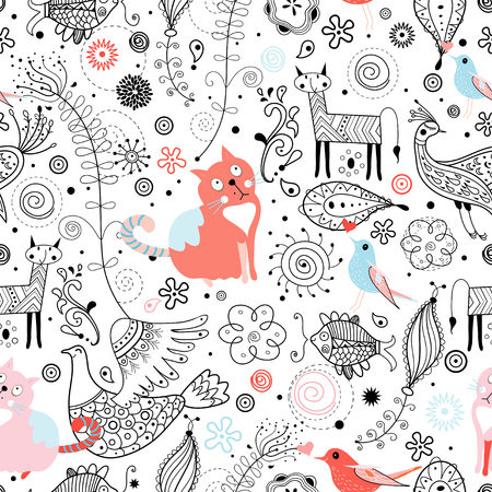 gato dibujo: Patrón transparente brillante con los gatos divertidos y animales fabulosos