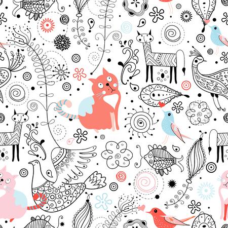 Seamless pattern brillant avec des chats drôles et animaux fabuleux Banque d'images - 24645692