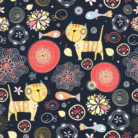 面白い猫と魚の明るいのシームレスなパターン  イラスト・ベクター素材