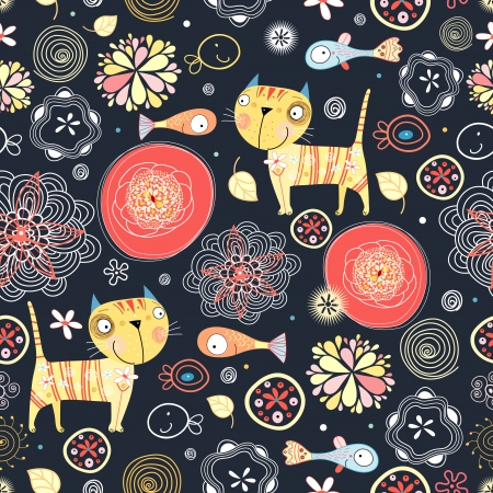 funny cats: Bright seamless pattern with funny cats and fish