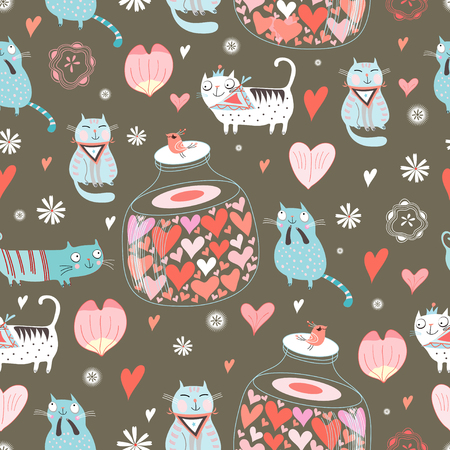 Bright seamless pattern with funny cats and hearts in love  Vector