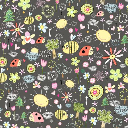 abeja caricatura: Modelo inconsútil del verano con las flores y los insectos