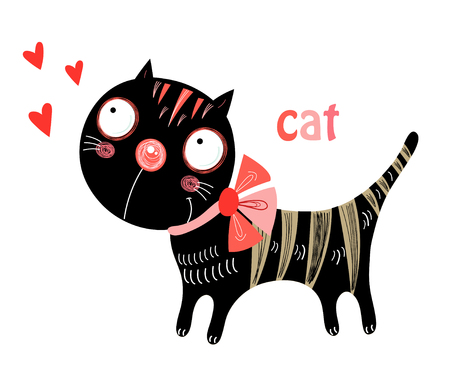 gato dibujo: amor divertido gatito negro sobre un fondo blanco