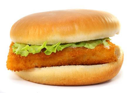 comida rápida: Filete Comida r�pida de los peces en el fondo blanco buderbrod
