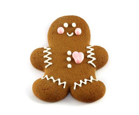 galletas de navidad: pan de jengibre brillante hombre gay en el fondo blanco