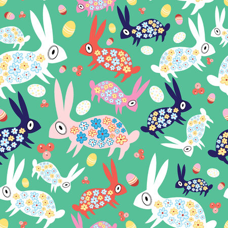 workmanship: seamless pattern of colorful easter rabbits and eggs
