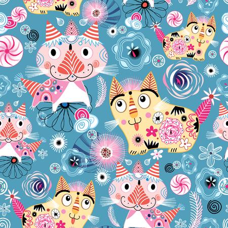 Naadloze heldere kleurrijke patroon met sier katten