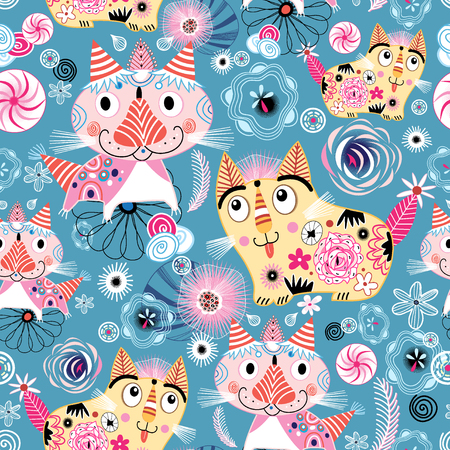 Seamless bright colorful pattern with ornamental cats