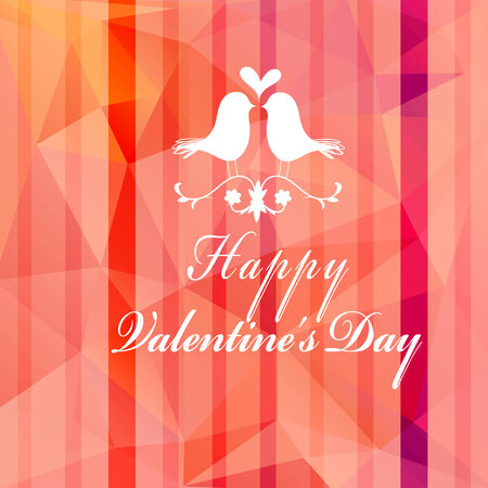 red abstract background: Festive red abstract background with birds in love