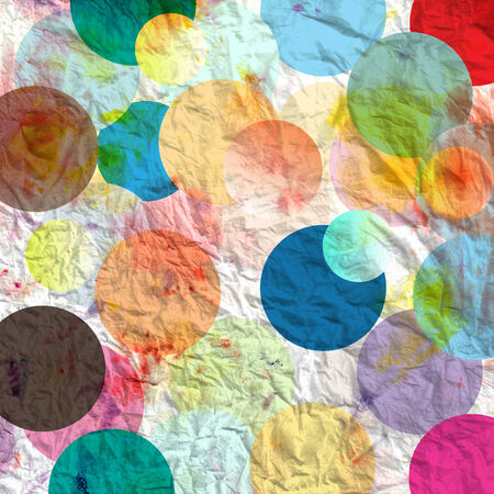 Aged bright abstract background with different colored circles