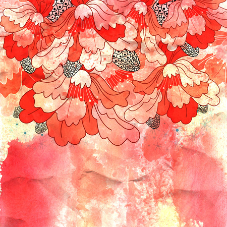 water damage: bright red ornamental designs on watercolor background