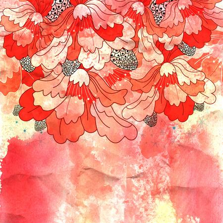 helder rood sier ontwerpen op aquarel achtergrond