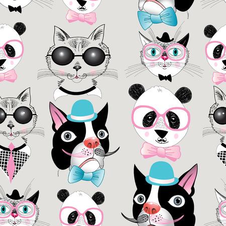 다양한 동물의 복고풍 초상화의 그래픽 원활한 패턴 일러스트